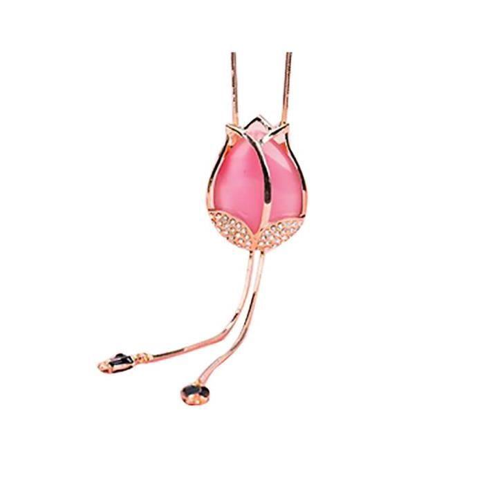 Collier Femme, Jolie Tulipe Chaîne de Chandail Fantasie Pendentif Mode Bijoux Élégant Vêtements Accessoires Cadeau pour Filles
