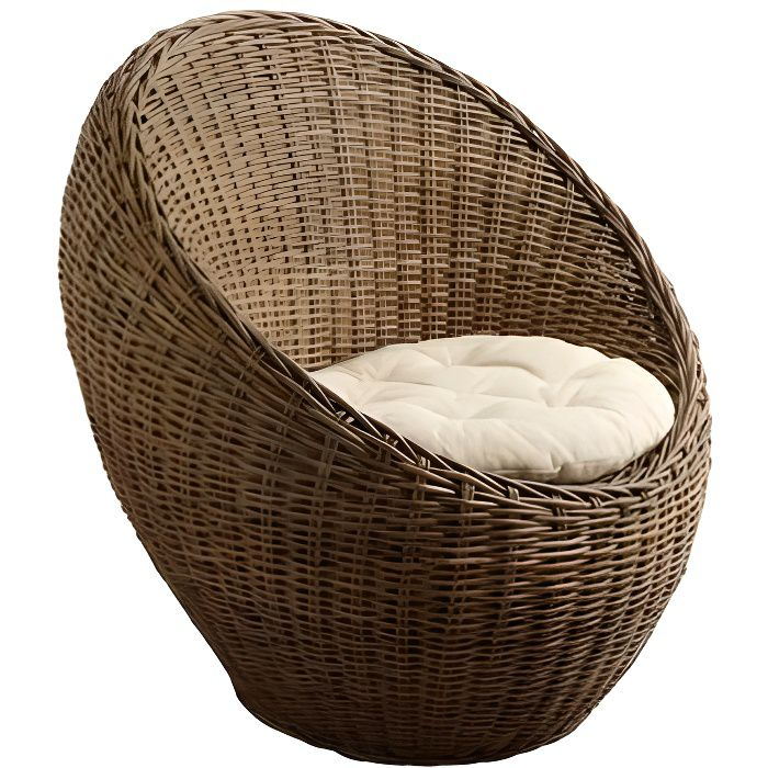 fauteuil boule rotin achat vente fauteuil rotin tissu 100 coton cdiscount. Black Bedroom Furniture Sets. Home Design Ideas