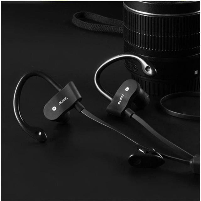CASQUE - ÉCOUTEURS Noir Ecouteurs Bluetooth Sans Fil Crochet Intra-au