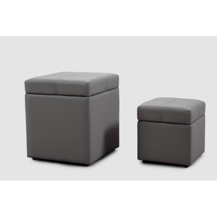 poufs coffres tic et tac coloris gris achat vente pouf poire mati re du rev tement. Black Bedroom Furniture Sets. Home Design Ideas