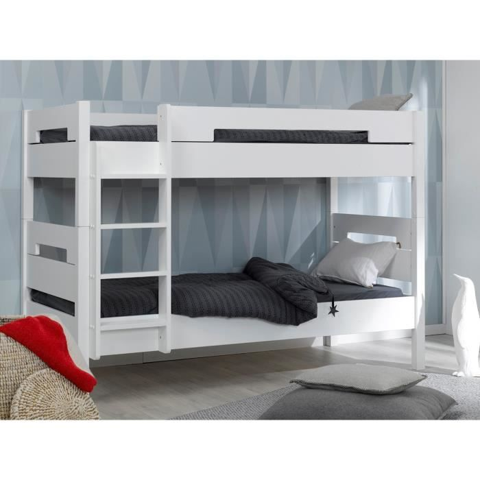 lit superpos enfant milo 90x200 blanc achat vente. Black Bedroom Furniture Sets. Home Design Ideas