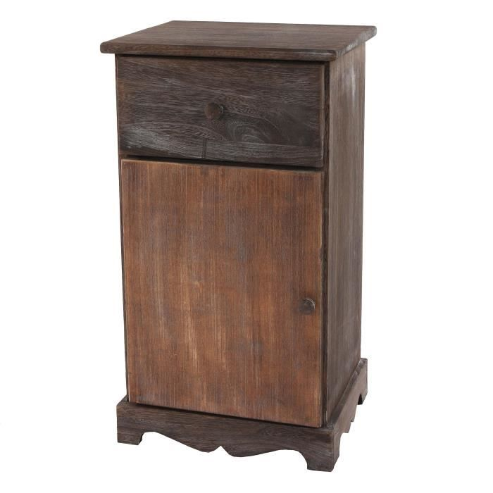 commode table d 39 appoint chevet table haute 35x29x63cm shabby vintage marron achat. Black Bedroom Furniture Sets. Home Design Ideas