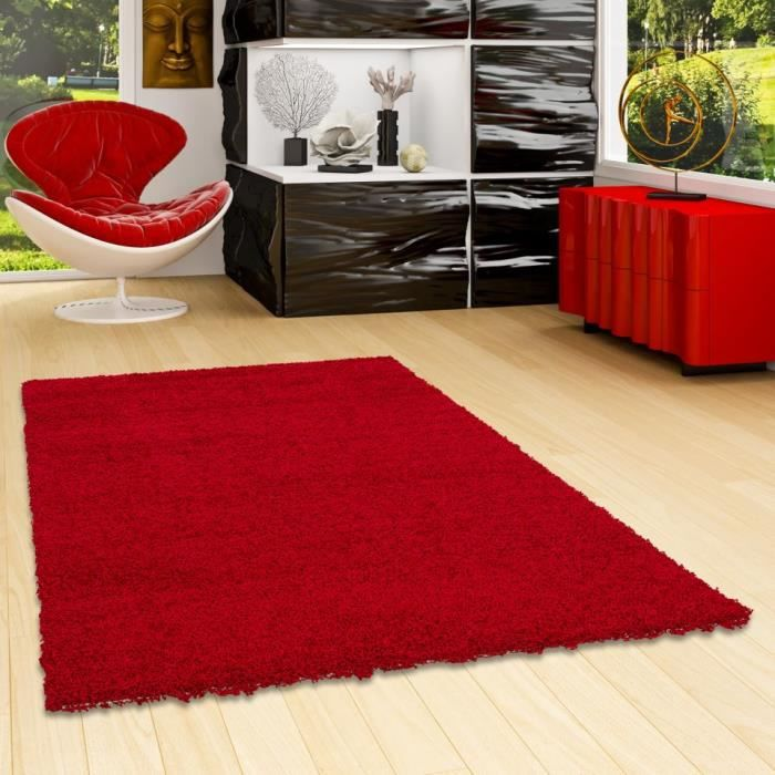 tapis poil long rouge achat vente pas cher. Black Bedroom Furniture Sets. Home Design Ideas