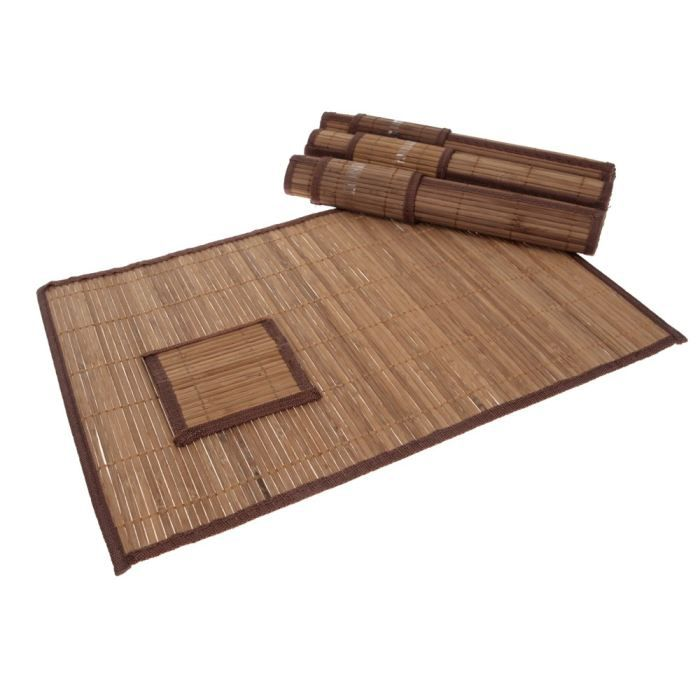 Lot de 8 pi ces set de table bambou achat vente set for Set de table en bambou