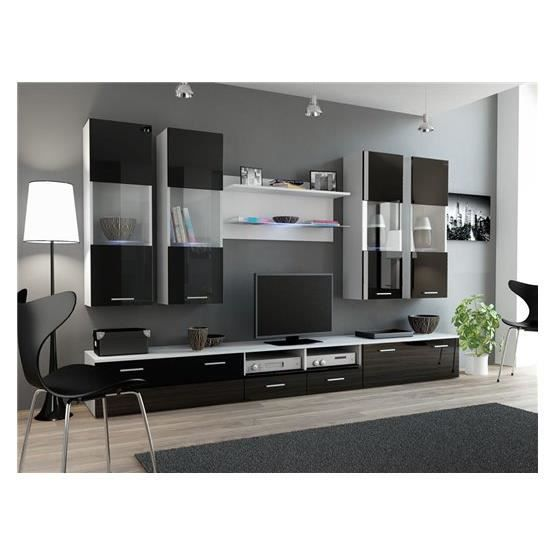ensemble meubles tv design sirus 1 blanc et noir composition bois laqu achat vente. Black Bedroom Furniture Sets. Home Design Ideas