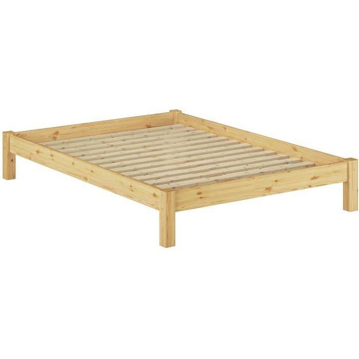 STRUCTURE DE LIT 60.35-14 Lit futon pin massif naturel, design mode