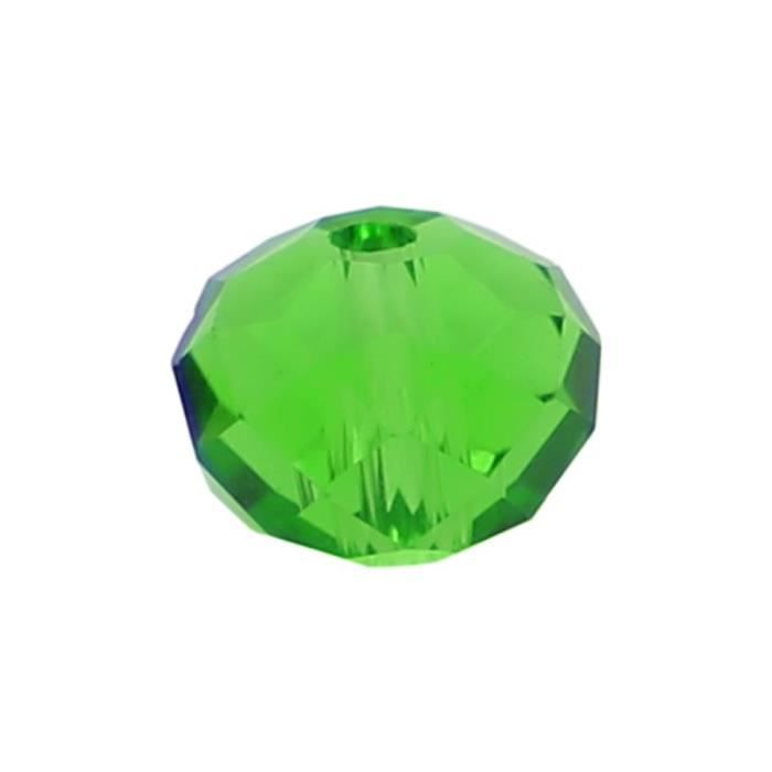 30 Perles en verre Abacus 8mm vert transparent