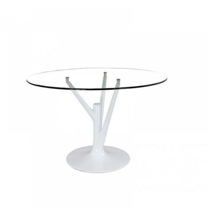 Table ronde de repas design arbre pied tulipe laqu achat for Table ronde pied tulipe