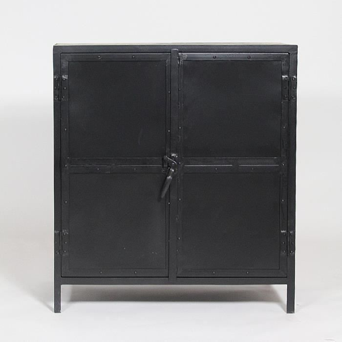 buffet metal noir 2 portes plateau bois blanchi achat. Black Bedroom Furniture Sets. Home Design Ideas