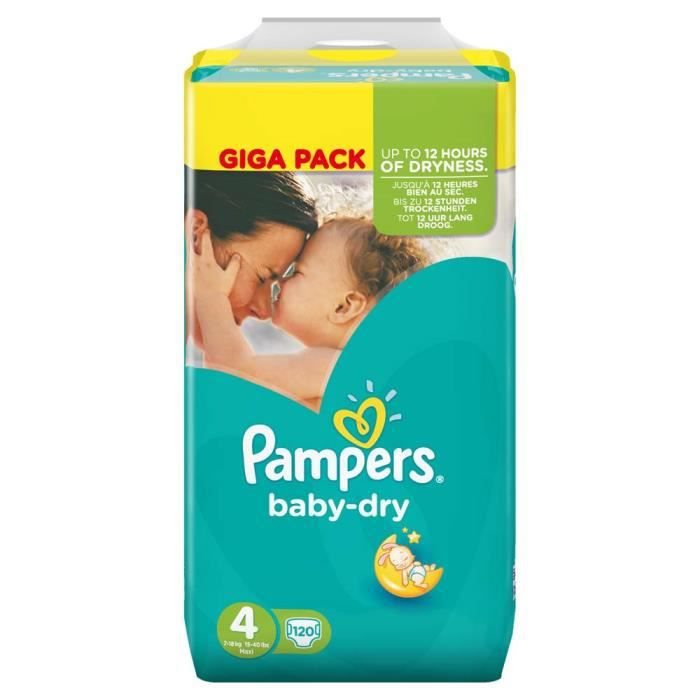 Pampers baby dry taille 4 maxi 7 18kg 120 couches achat - Prix couches pampers baby dry taille 4 ...