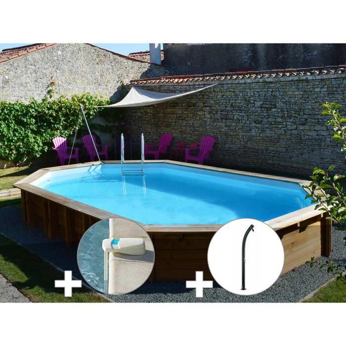 PISCINE Kit piscine bois Sunbay Safran 6,37 x 4,12 x 1,33