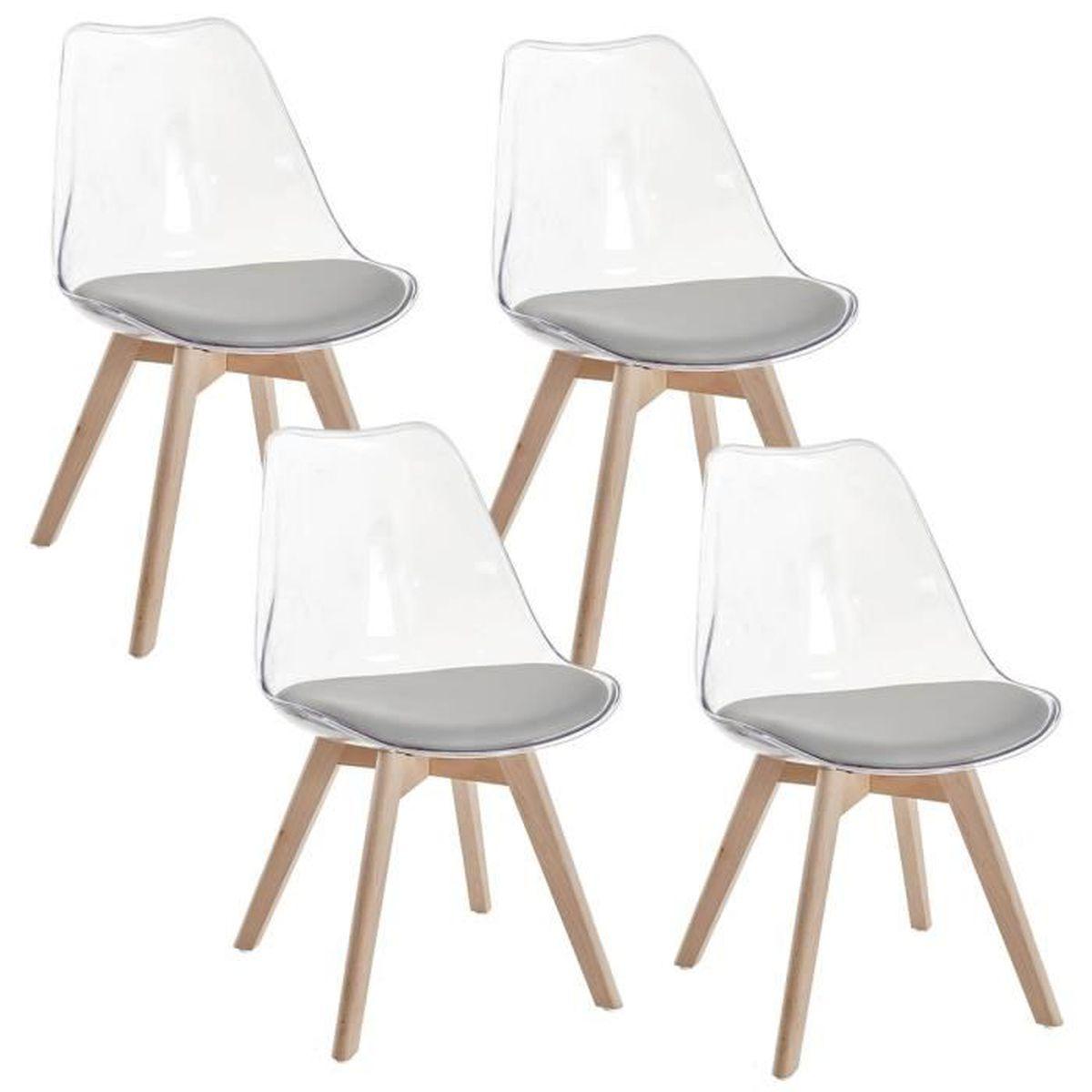 transparentes scandinaves chaises Achat Lot 4 GALA gris de f6yYg7b