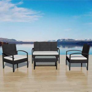 Ensemble table et chaise de jardin YaJiaSheng Jeu de canapés de jardin 7 pcs Noir Rés