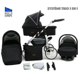 PACK VOYAGE Noir LEGRO Trio Poussette - Landau 3en1 Combinée a