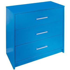 commode 3 tiroirs coloris bleu en pin massif achat. Black Bedroom Furniture Sets. Home Design Ideas