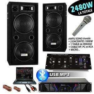 PACK SONO SONO IBIZA DJ 2480W avec 2 ENCEINTES 1000W + AMPLI