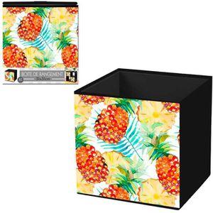 BOITE DE RANGEMENT Cube de rangement 'Ananas' orange vert - 31x31 cm