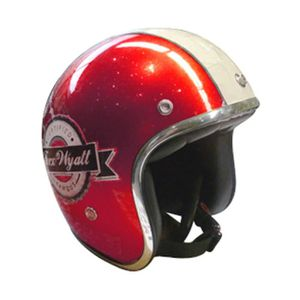 CASQUE MOTO SCOOTER CASQUE JET VINTAGE WYATT FAMOUS SHINY GLITTER RED