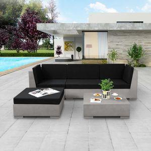 Luxueux Magnifique Moderne-Mobilier de jardin Salon de jardin 5 pcs avec  coussins Béton Gris