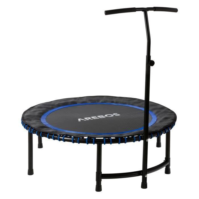 Arebos Trampoline d'exercice Mini Rebondisseur Trampoline de Fitness Ronde Bleu