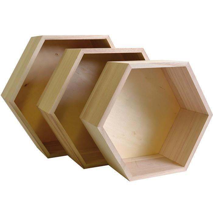 Ensemble de 3 étagères hexagone en bois