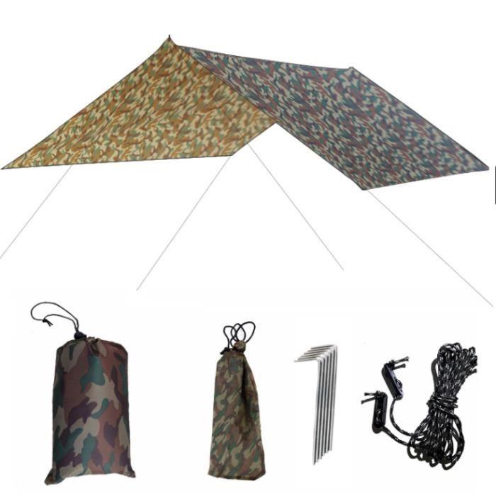 Camping Bâche Rain Tarp Toile de Tente Imperméable Abri de Randonnée Pliable Portable Grande Taille pour Backpacking Picnic