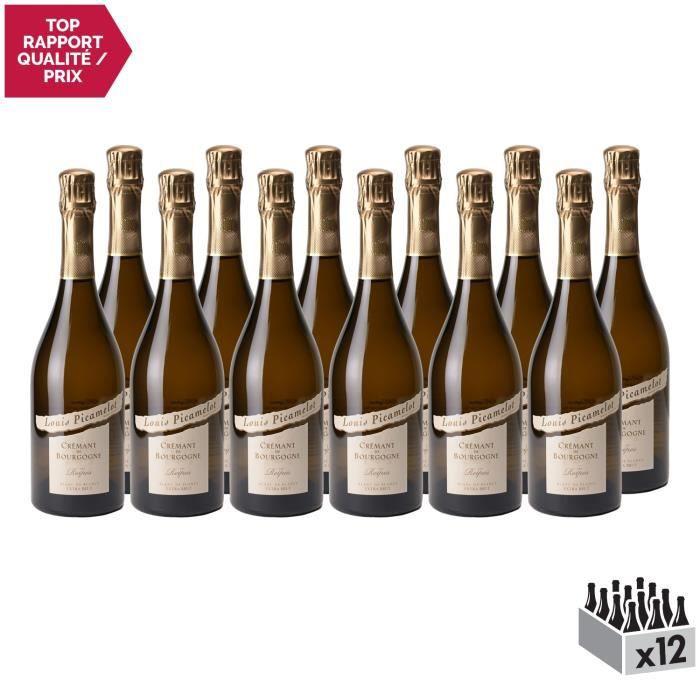 Crémant de Bourgogne Les Reipes Chardonnay Extra Brut Blanc - Lot de 12x75cl - Louis Picamelot - Vin effervescent AOC Blanc de