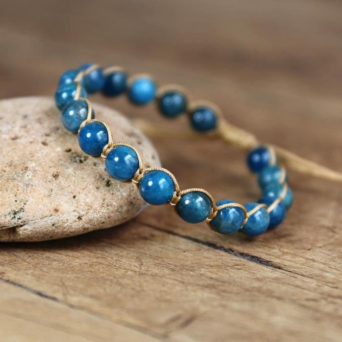 Bracelets en pierre naturelle d'apatite, 8MM, bijoux faits à la main, corde tressée, amitié, Yoga, énergie de gu apatite -CLAT4649