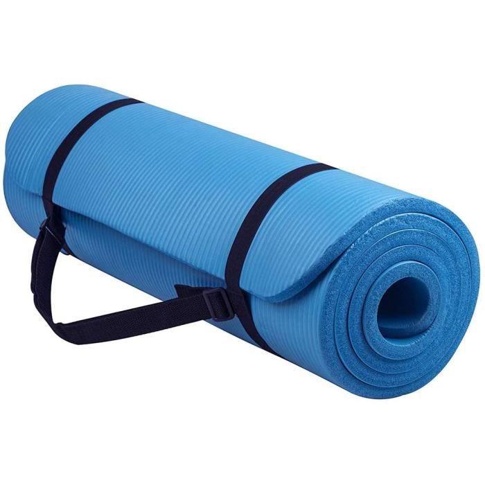 lot de tapis de yoga-pilates-fitness extra épais en NBR antidérapant Longueur 183 cm avec sangle 751