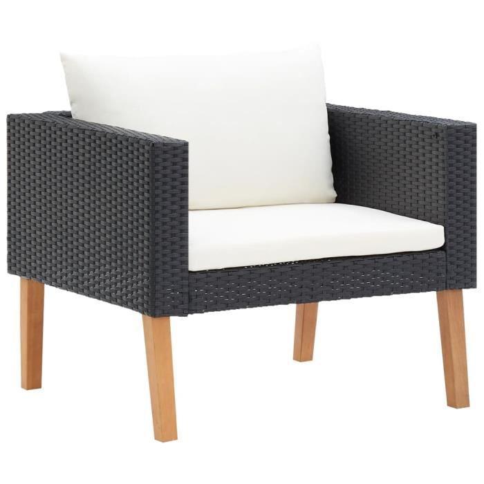 Chic© Canapé simple de jardin avec coussins - Canapé de relaxation Canapé Confortable Résine tressée Noir #38072