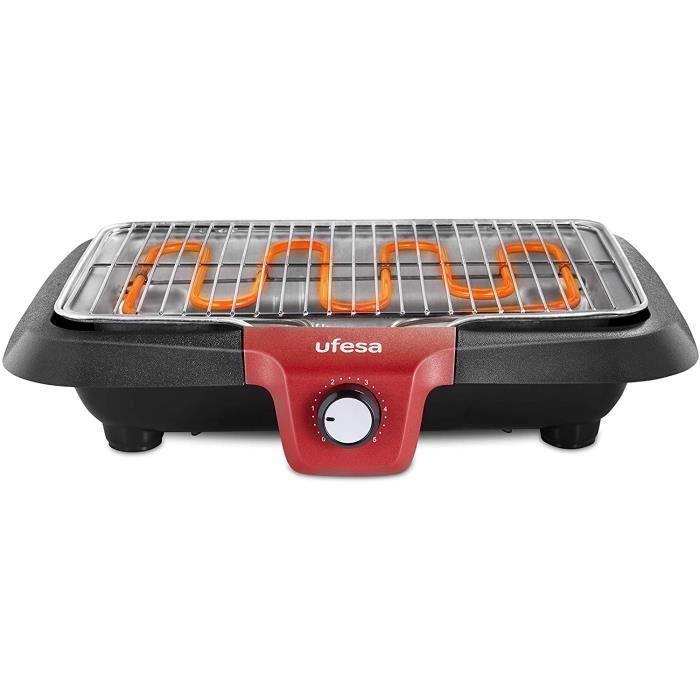UFESA BB7640 Barbecue électrique avec système de génération de faible fumée, résistance thermique, arrêt automatique, surface 38x24c