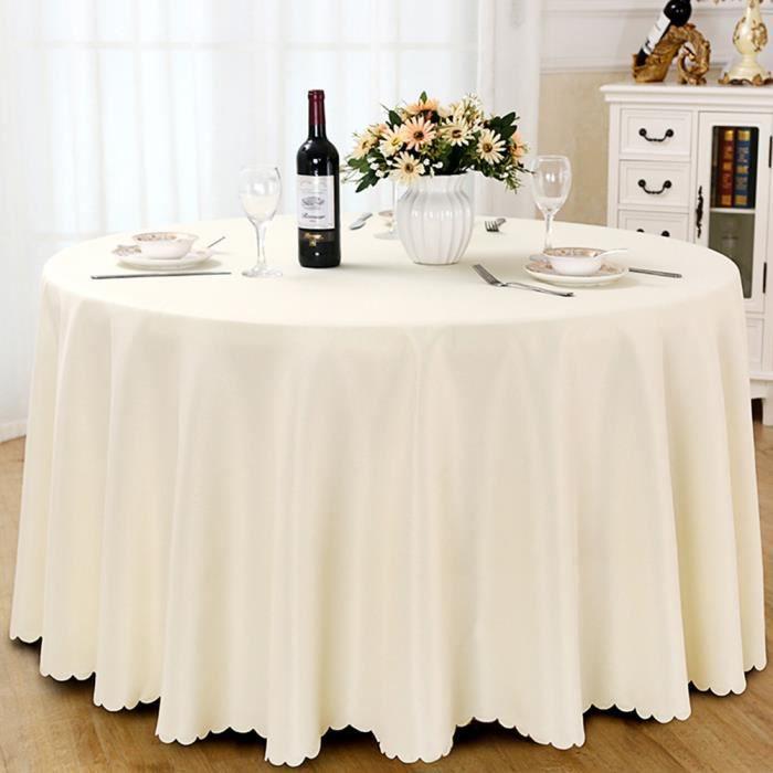 Nappe de table, Nappe ronde, Nappe ronde 240 cm, Nappe ronde antitache, Nappe exterieur table ronde - Beige