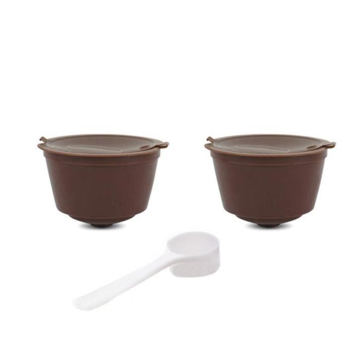 Café Filtres,Capsules de café réutilisables pour Dolce Gusto, filtre à café avec cuillère et brosse adaptés - Type Brown 20 spoons