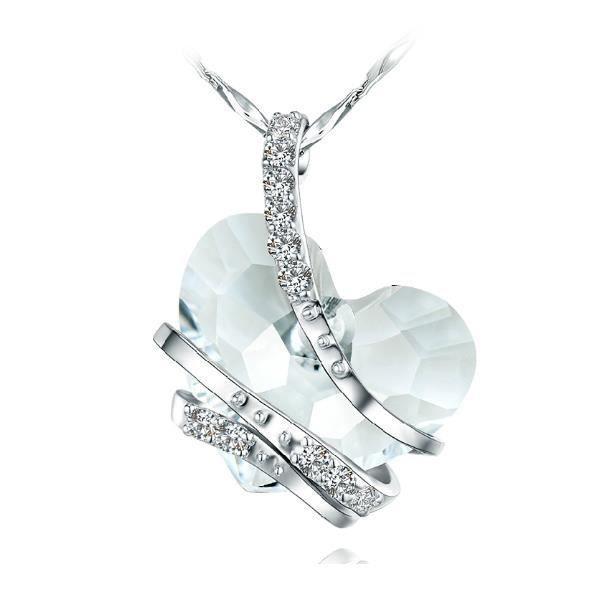 Pendentif Coeur en Cristal de Swarovski Elements Blanc et Plaqué Rhodium