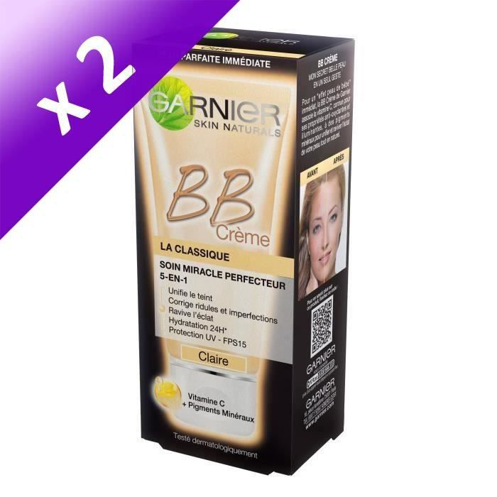 GARNIER-Skin Active Bb Crème Classique Teinte Claire - 50 ml (Lot de 2)