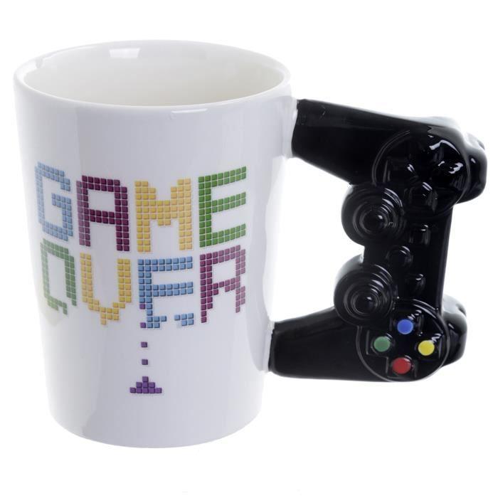 Tasse Manette Game Over [avec manette 3D comme anse] blanc, imprimé, 100% céramique, emballage cadeau.