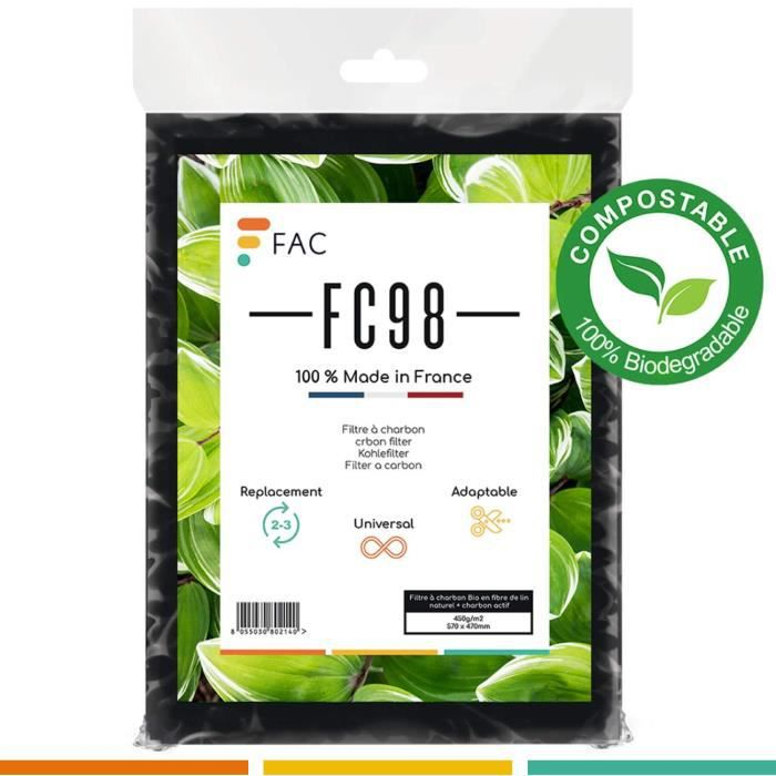 Fac FC98 - Filtre Universel de hotte au Charbon Actif à découper Selon Besoin - Taille 47 * 57 cm.