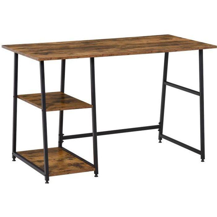 Bureau informatique design industriel 2 étagères panneaux particules aspect vieux bois acier noir