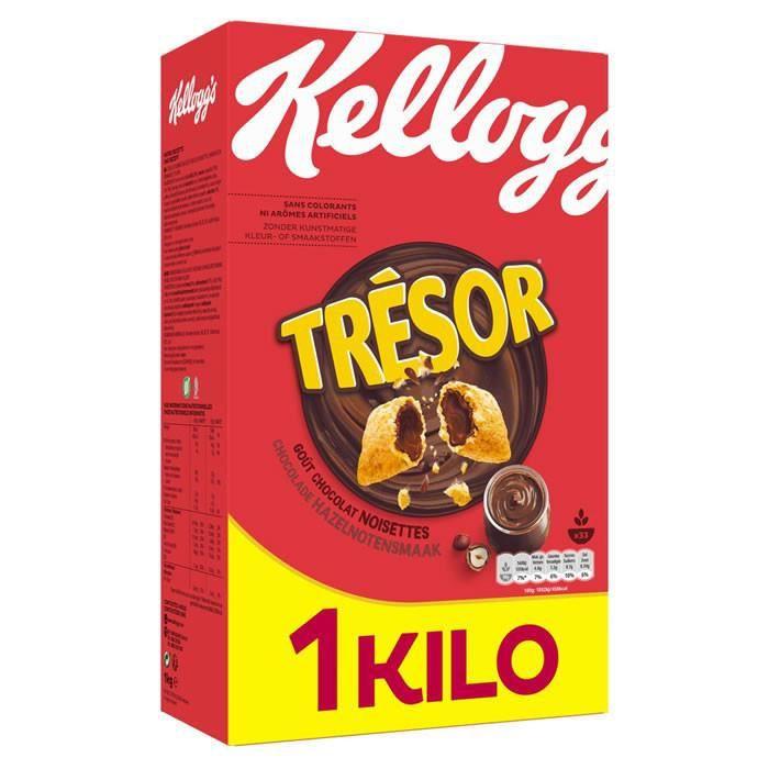 Cafe Moulu - LOT DE 2 - KELLOGG'S TRESOR : Céréales chocolat noisette 1 kg