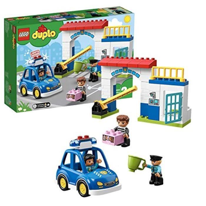 Poupon T4PJQ 10902 DUPLO police de la ville station avec son et lumière, Voiture de police, cellule de prison et 2 chiffres Policier