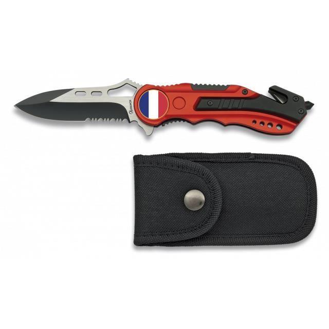 Couteau Pliant Rouge. Scie. Etui. 6.5 Cm