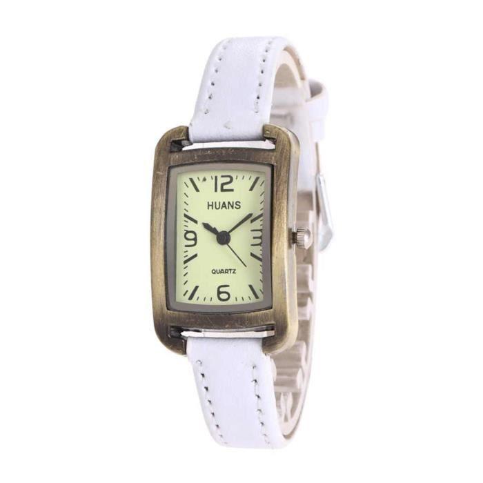 Montre bracelet Cadran Rectangulaire Quartz Aiguilles Sans chiffres Tissu - Cuir retourné Bijou Femme Blanc wz-M0055