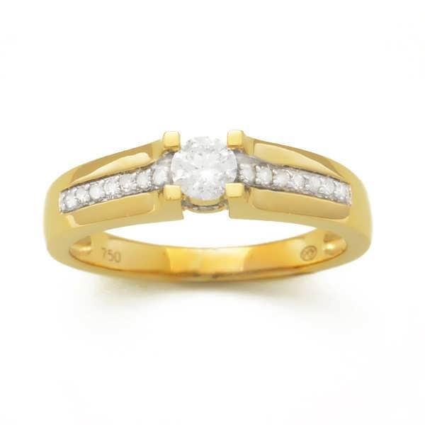 MONTE CARLO STAR - Solitaire en Or Jaune 18 Carats et Diamants Accompagné 4 Griffes - Femme
