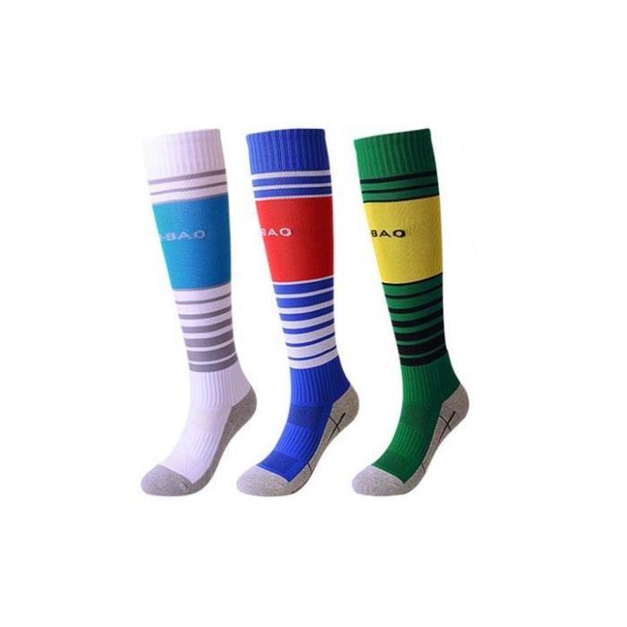 Lot de 3 Paires Chaussettes de Football Enfant Chaussettes de Sport Protection Respirantes Antidérapant - Blanc bleu vert