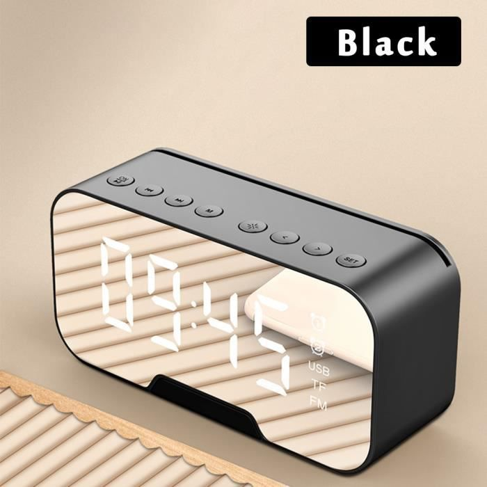 Réveil Noir Numérique électronique Sans Fil Bluetooth Multifonction Réveil Miroir Lecteur De Musique