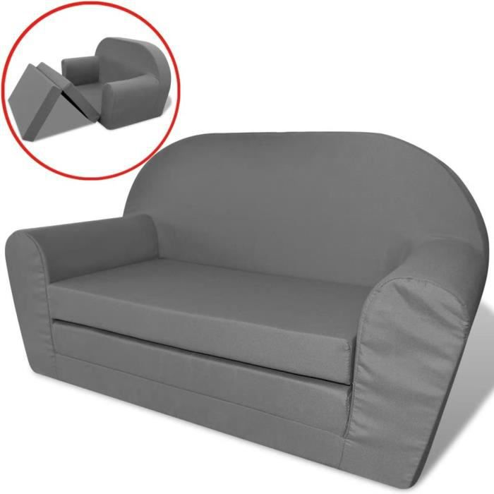 Chaise Longue Fauteuil Canapé Sofa Pliable pour Enfants Gris