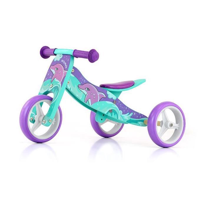 JAKE Vélo 2 en 1 Tricycle et draisienne en bois, Véhicule pour enfant avec roues en mousse, Modèle:Jake Dolphin