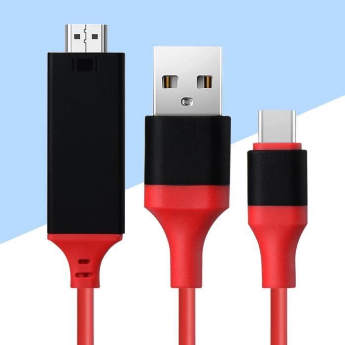 Câble USB3.1 de type C à Ligne d'affichage à l'écran du téléphone mobile TV (Rouge) SWITCH - HUB ETHERNET - INJECTEUR
