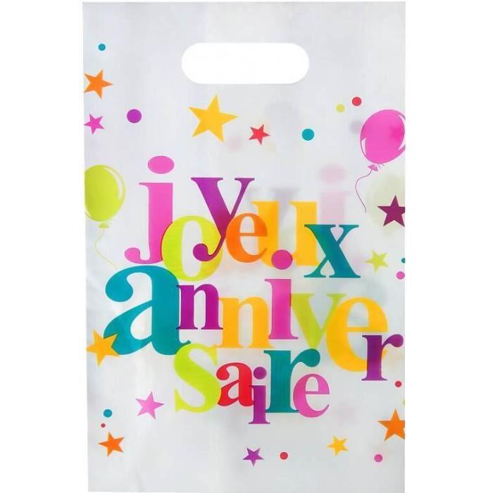 Sachet à bonbon joyeux anniversaire festif multicolore (x10) R/4801