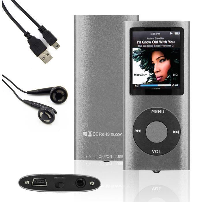 SAVFY® 16Go  MP3 MP4 Lecteur Player  Vidéo Radio Musique Jeux FM Écouteurs avec USB Câble ,Argent